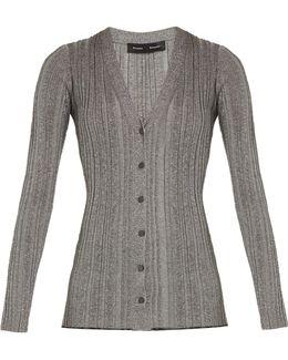 V-neck Ribbed-knit Lurex Cardigan