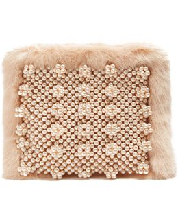 Graham Faux Pearl-embellished Faux-fur Pouch