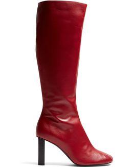 Block-heel Leather Knee-high Boots