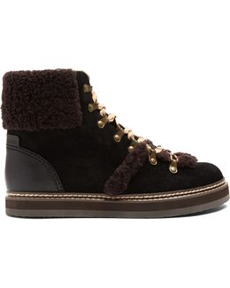 Aileen Shearling-trimmed Suede Ankle Boots