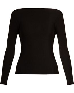 Cut-out Back Technical Ribbed-knit Sweater