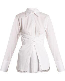 Corset-waist Cotton-poplin Shirt