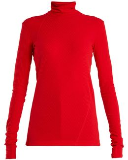 Roll-neck Ribbed-cotton Top