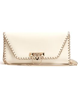 Demilune Leather Clutch Bag