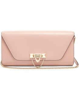 Demilune Leather Clutch