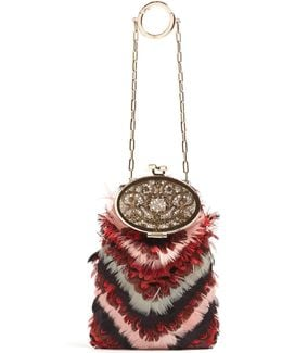 Soft Secret Feather-embellished Clutch Bag