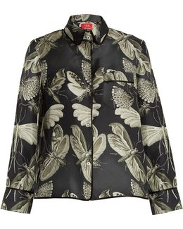 Moth-print Silk-twill Pyjama Shirt