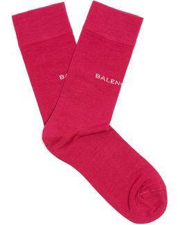 Logo-intarsia Cotton-blend Socks