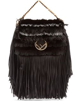 Micro Baguette Mink-fur And Leather Cross-body Bag