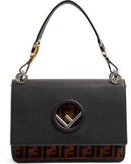 Kan I Logo Leather And Velvet Shoulder Bag