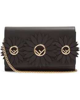 Flower And Logo-embellished Leather Clutch