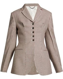Gael Notch-lapel Hound's-tooth Checked Jacket