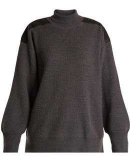 Faux Leather-trimmed Oversized Wool Sweater