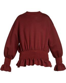 Ruffled-hem Long-sleeved Sweatshirt