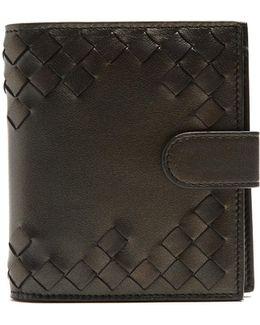 Part-intrecciato Bi-fold Leather Wallet
