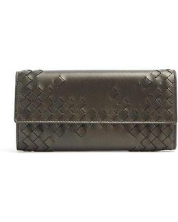 Front-flap Part-intrecciato Leather Wallet