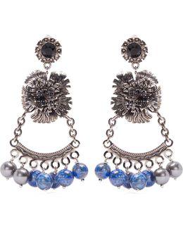 Bead-embellished Flower-drop Clip-on Earrings