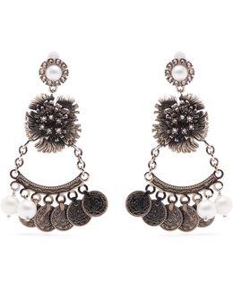 Faux-pearl Flower-drop Clip-on Earrings