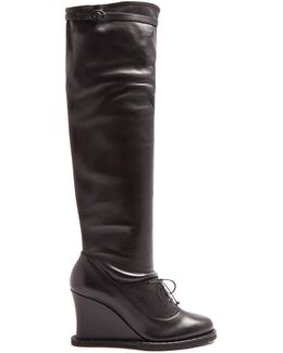 Intrecciato-panel Leather Over-the-knee Boots