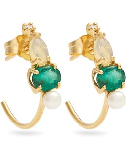 Diamond, Emerald, Opal, Pearl & Gold Earrings