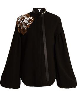 Floral-lace Embellished Bell-sleeved Crepe Top