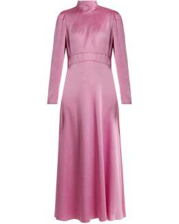 Long-sleeved Hammered-satin Dress