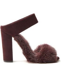 Purr Purr Fur-trimmed Suede Sandals