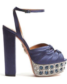 Party Plateau Crystal-embellished Satin Sandals