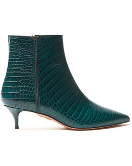 Quant Crocodile-effect Leather Ankle Boots