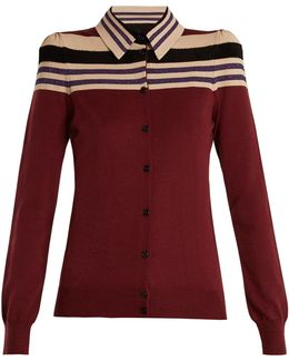 Padded-shoulder Wool-blend Cardigan