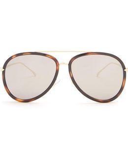 Double-rim Aviator Acetate Sunglasses