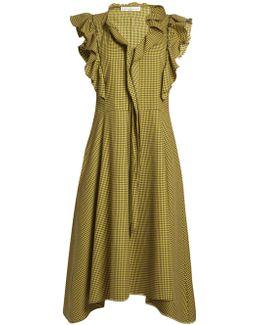 Gina Ruffle-trimmed Checked Midi Dress