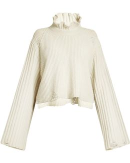 Malia Fluted-collar Ribbed-knit Sweater