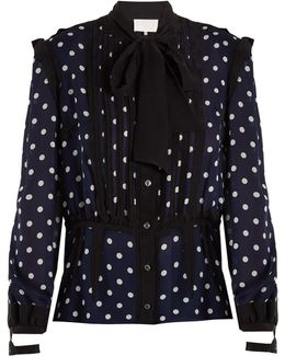 Polka-dot Print And Jacquard-trimmed Silk Blouse