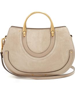 Pixie Medium Leather And Suede Shoulder Bag