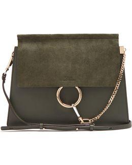 Faye Medium Suede And Leather Shoulder Bag
