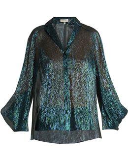 Draped-sleeved Silk-blend Shirt