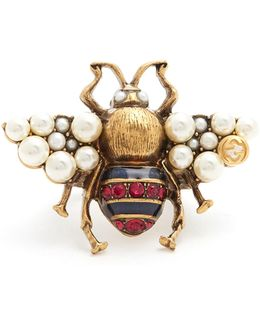 Bee Crystal And Faux-pearl Embellished Ring