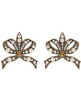 Faux-pearl And Feline-embellished Bow Earrings