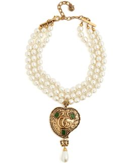 Faux-pearl Logo-heart Embellished Necklace