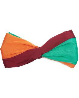 Pleated-bow Striped Satin Headband