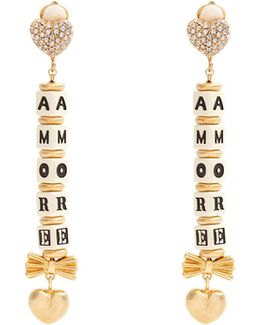 Heart And Crystal-embellished Clip-on Earrings