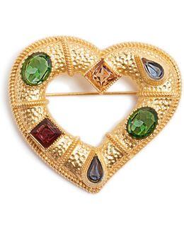 Crystal-embellished Heart Brooch