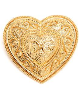 Logo-embellished Heart Brooch