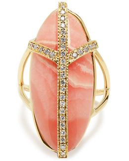 Diamond, Rhodochrosite & Yellow-gold Ring