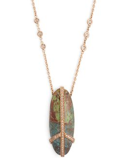 Diamond, Turquoise & Rose-gold Necklace