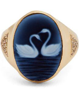 Diamond, Agate & Yellow-gold Ring