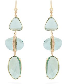 Diamond, Florite & Yellow-gold Earrings