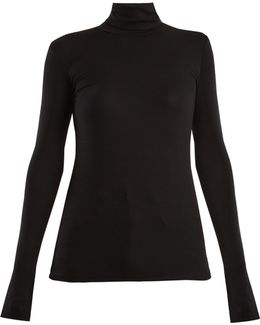Roll-neck Ribbed-jersey Top