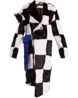 Deconstructed Checkerboard Fur Coat